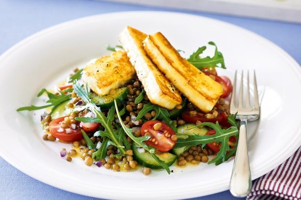 Greek salad with haloumi