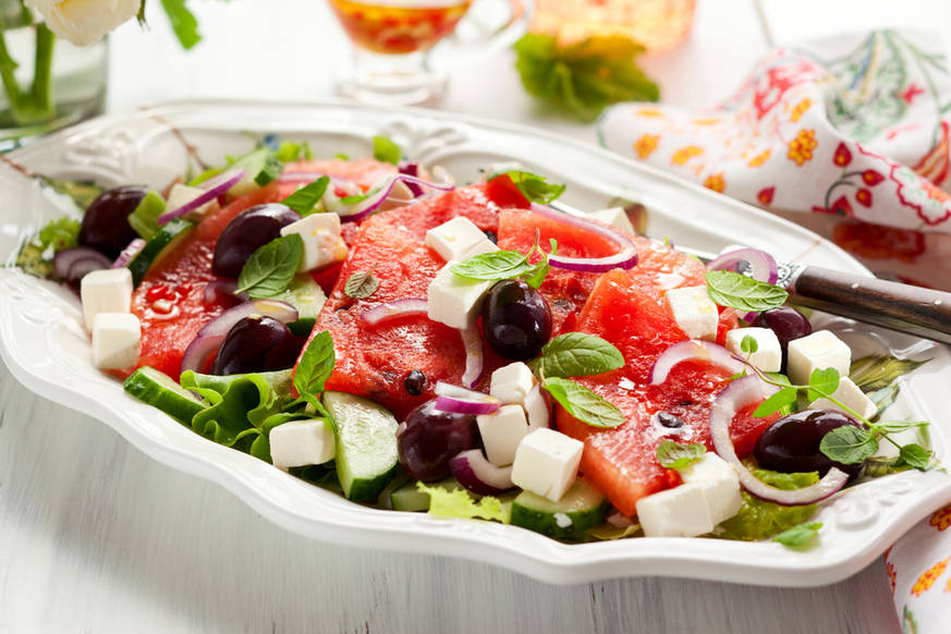 Greek salad with watermelon & feta