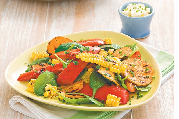 Roasted potato with capsicum & corn salad